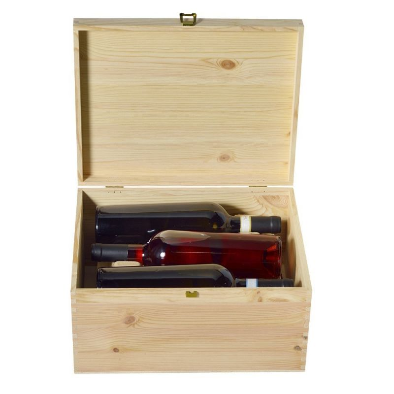 Cassetta in legno per vino 3+3 con cerniera