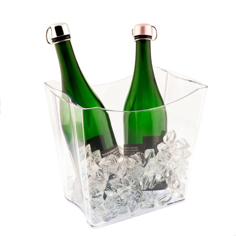 Twins Secchiello porta ghiaccio 2 bottiglie - trasparente