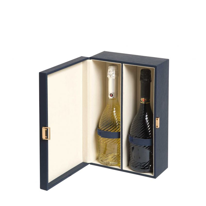 Blue Elite - Cassetta vino design in pelle ecologica per 2 bottiglie - aperta