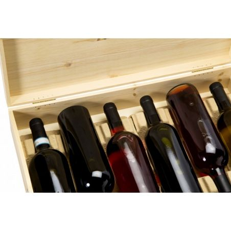 Cassetta in legno per vino 6 bottiglie stese
